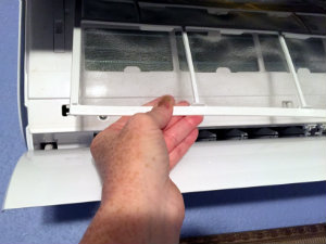 Gently push up and out to remove the air filters for cleaning.
